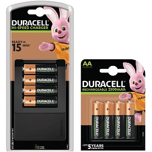 Duracell 15m Charger + 8 AA Batteries