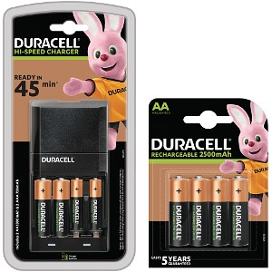Duracell 45m Charger + 6AA & 2AAA Cells